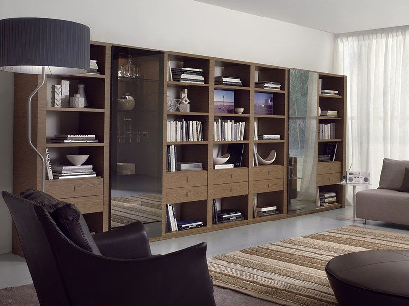 Wall-mounted bookcase with drawers LALTROGIORNO 815 - TUMIDEI
