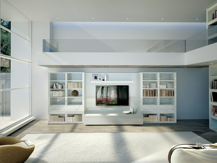Lacquered TV wall system LALTROGIORNO 816 by TUMIDEI