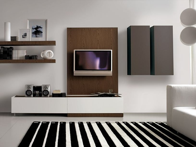 Wall-mounted lacquered storage wall LALTROGIORNO 826 - TUMIDEI