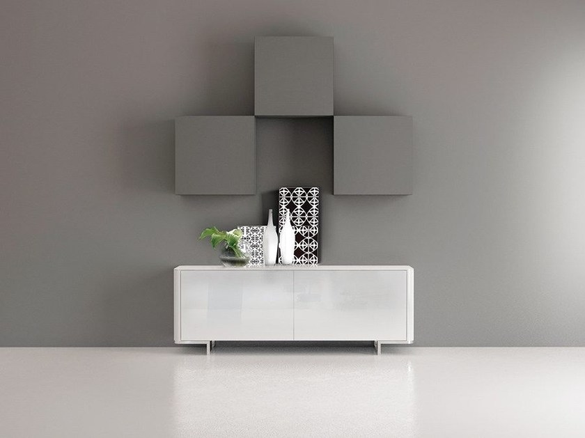 Wall-mounted lacquered storage wall LALTROGIORNO 831 - TUMIDEI