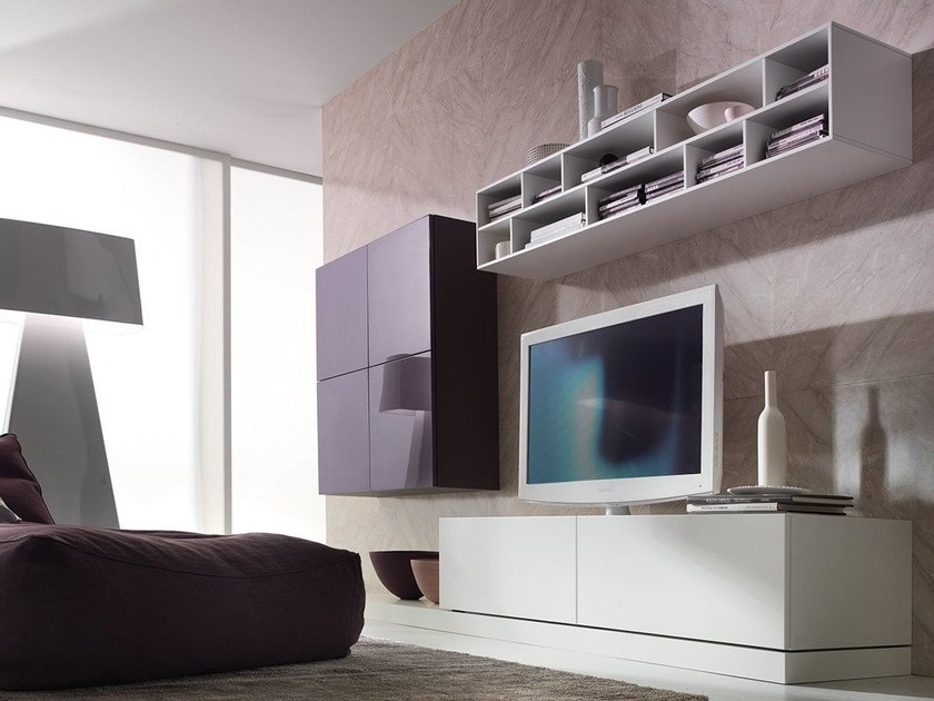 Sectional wall-mounted lacquered storage wall LALTROGIORNO 845 - TUMIDEI