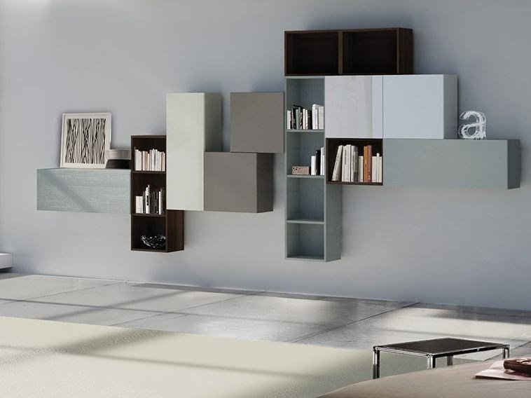 Wall-mounted lacquered storage wall LALTROGIORNO 853 - TUMIDEI