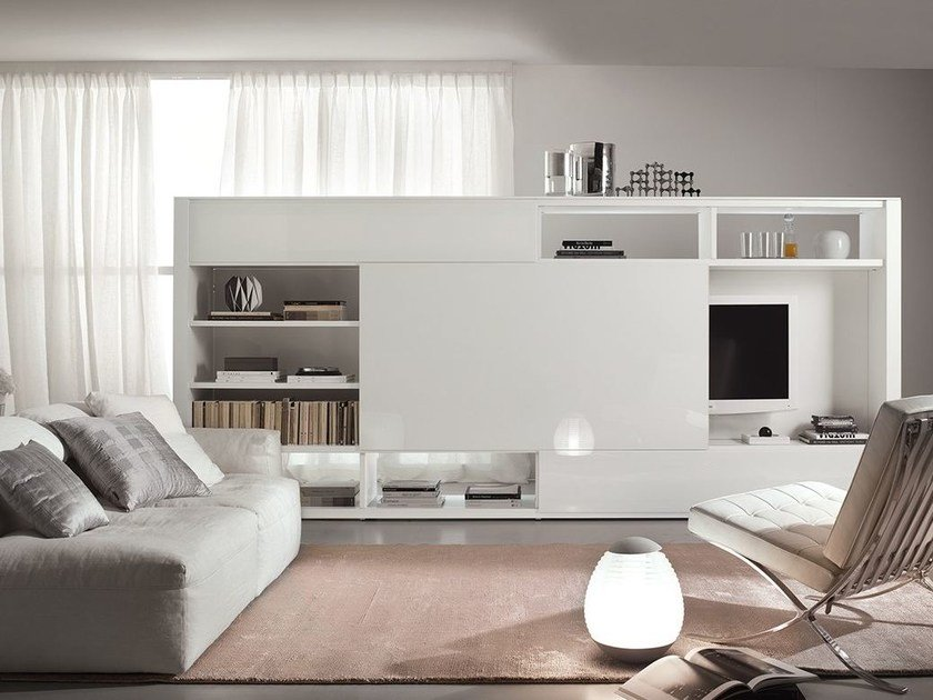 Lacquered TV wall system LALTROGIORNO 864 by TUMIDEI