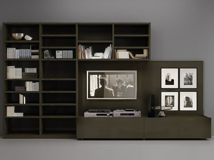 Wall-mounted lacquered TV wall system LALTROGIORNO 871 - TUMIDEI