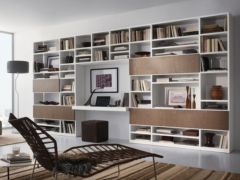 Wall-mounted lacquered storage wall with secretary desk LALTROGIORNO 874 - TUMIDEI