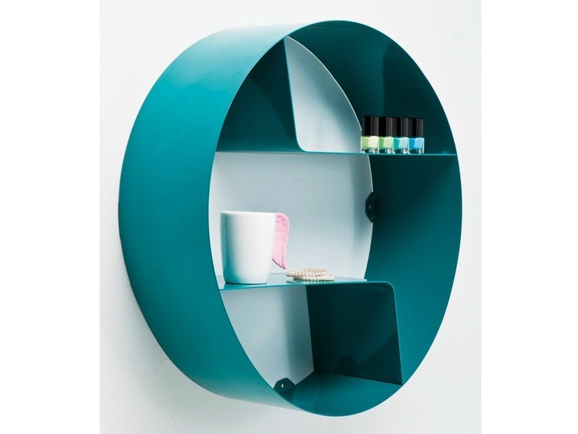 Lacquered open wall cabinet CICLE WAVE TEAL - KARE-DESIGN