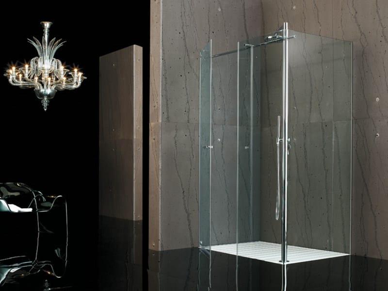 Box doccia angolare in vetro temperato raso filodoccia angolo pivot megius - Piatto doccia raso pavimento ...