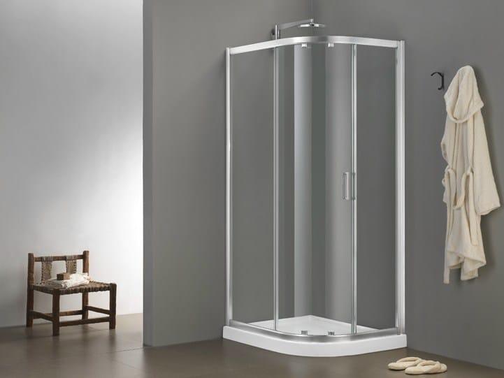 Corner glass shower cabin with sliding door MORE LIVE SWIM - MEGIUS