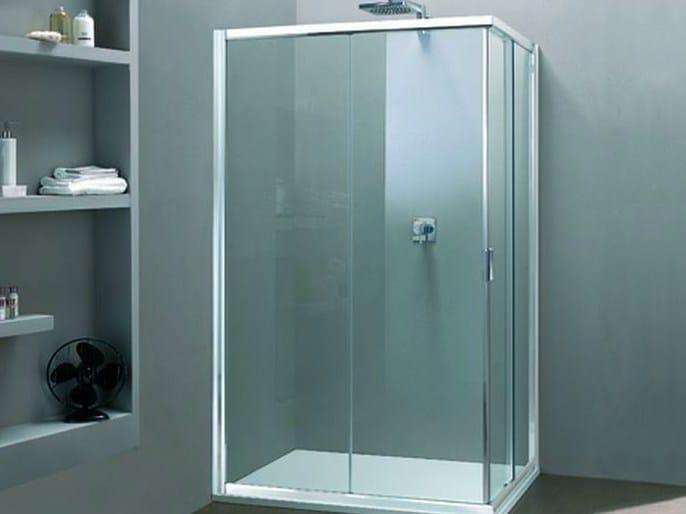 Corner shower cabin with sliding door MORE LIVE A - MEGIUS