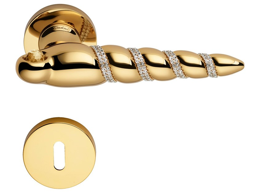 Chromed brass door handle with Swarovski® Crystals on rose with lock SHELL MESH | Door handle with lock - LINEA CALI'