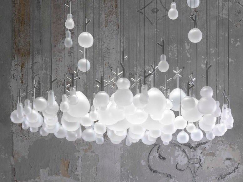 Design indirect light glass chandelier GROWING VASES by Lasvit