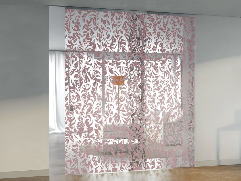 Decorated glass sliding door without frame ALPHA FLORITA by Casali