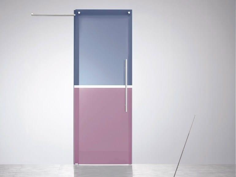 Porta scorrevole in vetro colorato senza telaio avio - Telaio porta scorrevole ...