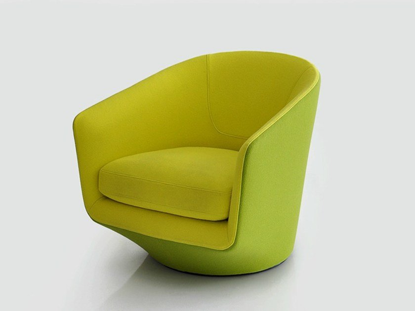 Club swivel fabric armchair U TURN by BENSEN