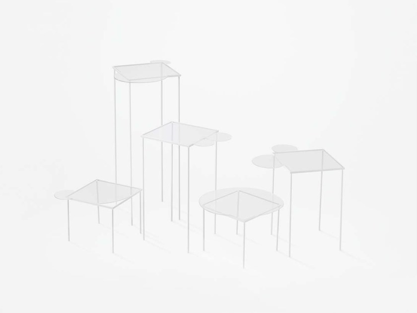 Square blown glass high side table OVERFLOW - Lasvit
