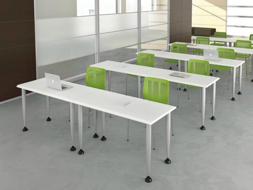 Height-adjustable rectangular wooden office desk FORMAT | Office desk - Las Mobili