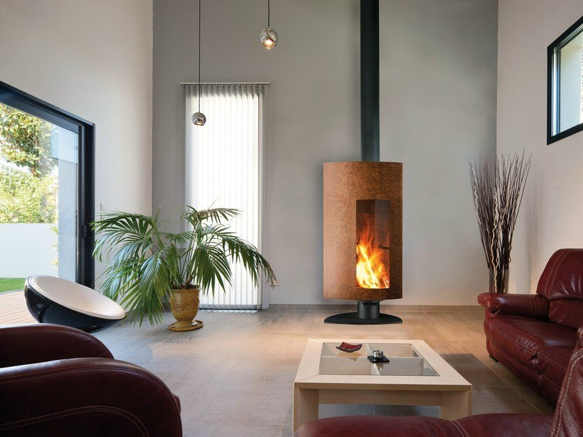 Wood-burning fireplace with panoramic glass STOFOCUS | Fireplace - Focus