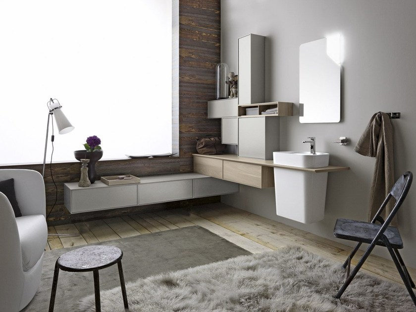 Sectional single wall-mounted vanity unit FREE 74/75 by Cerasa