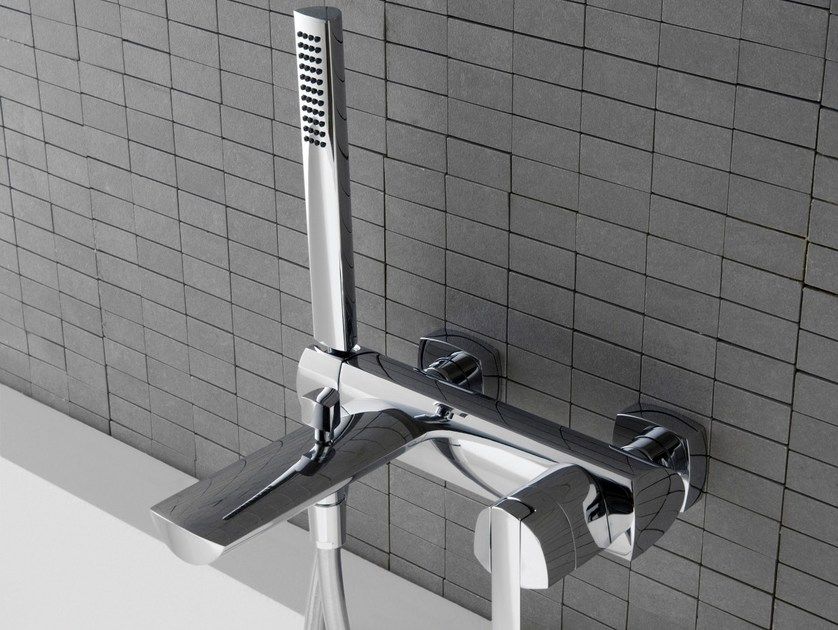 Wall-mounted steel bathtub mixer TANGO | Bathtub mixer - ZAZZERI