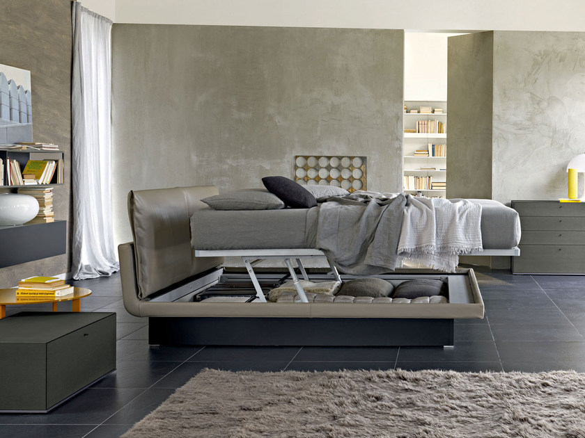 Leather storage bed with upholstered headboard HONEY | Storage bed - MOLTENI & C.