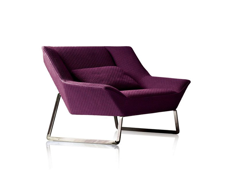 Sled base upholstered fabric armchair TIGHT | Sled base armchair - MOLTENI & C.