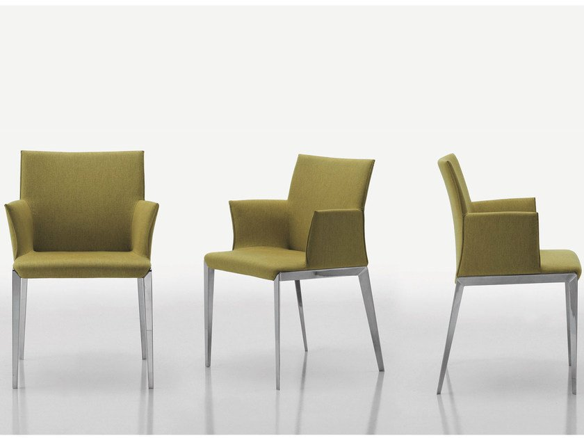 Upholstered chair with removable cover with armrests DART | Chair with armrests - MOLTENI & C.