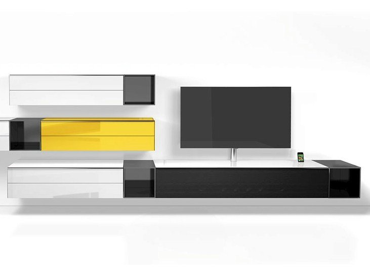 Meuble tv basse composable mural collection scala by for Meuble mural audio video
