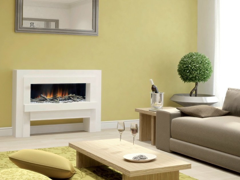 Wall-mounted electric fireplace with panoramic glass LINEA SUITE - BRITISH FIRES