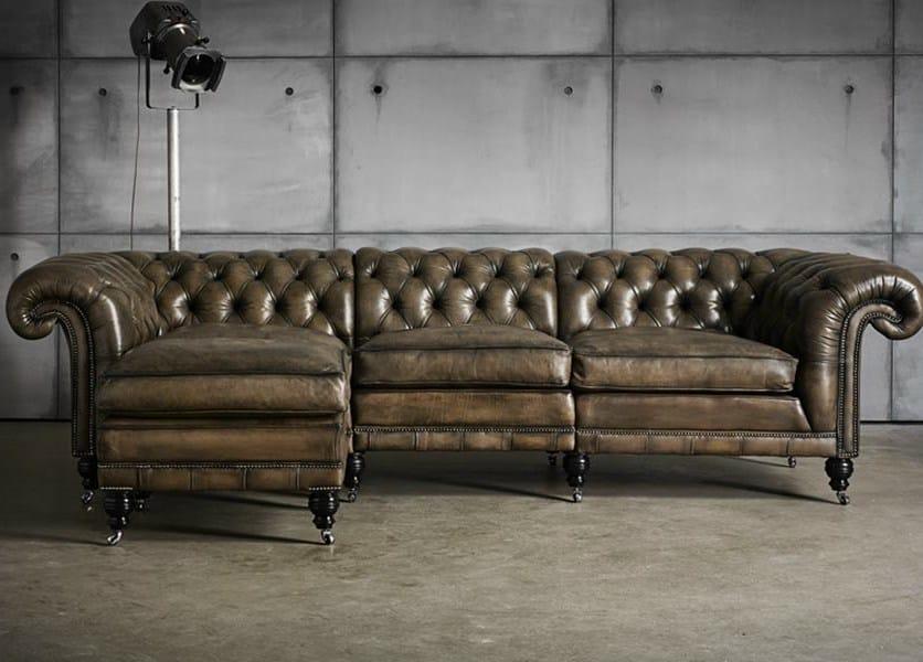canap capitonn composable rembourr en cuir tann e canap d 39 angle collection samual johnson by. Black Bedroom Furniture Sets. Home Design Ideas