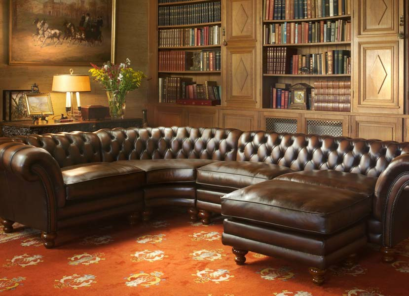 corner tufted tanned leather sofa kingston by fleming howland. Black Bedroom Furniture Sets. Home Design Ideas