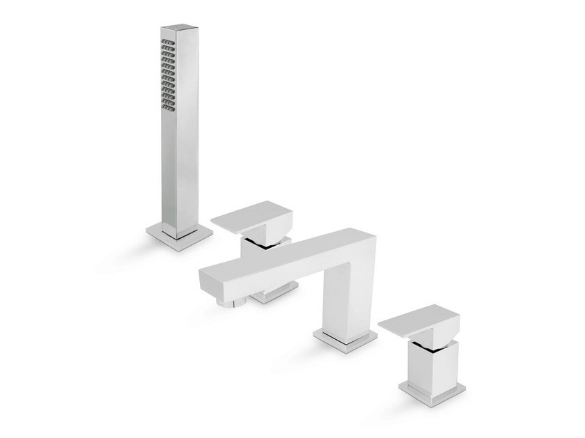 4 hole bathtub set with diverter with hand shower ERGO-Q | Bathtub set with hand shower by NEWFORM