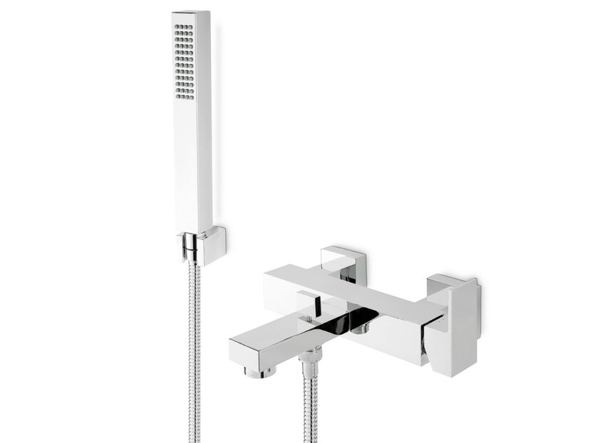 Wall-mounted bathtub mixer with hand shower ERGO-Q | Bathtub mixer with hand shower - NEWFORM
