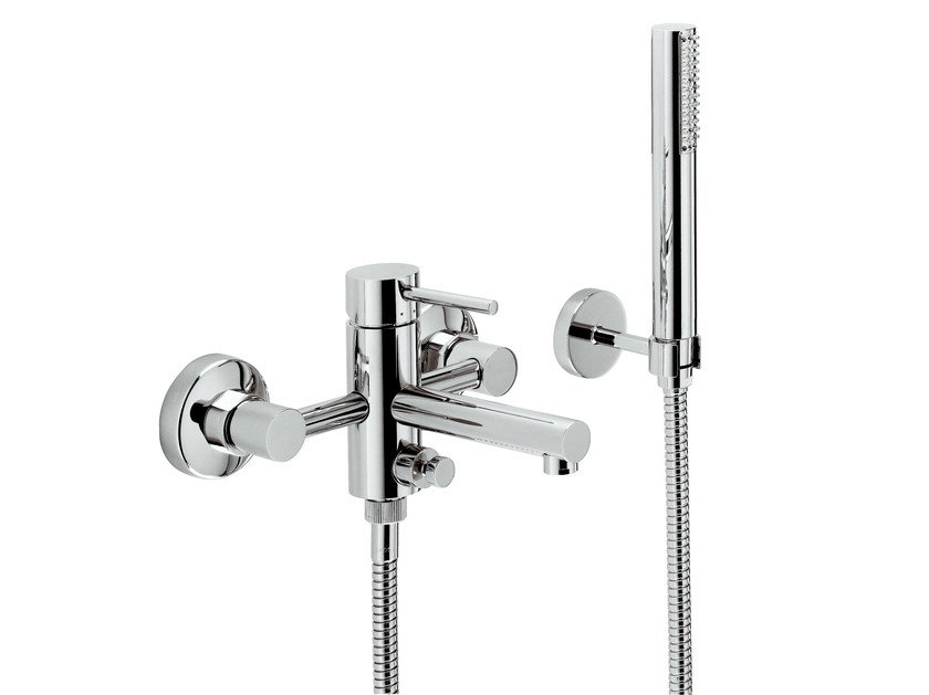 Wall-mounted bathtub mixer with diverter with hand shower MINI-X | Bathtub mixer - NEWFORM