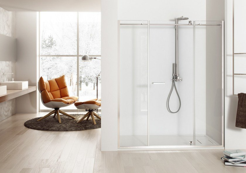 Niche shower cabin with hinged door SOLODOCCIA PIVOT PB2 - MEGIUS