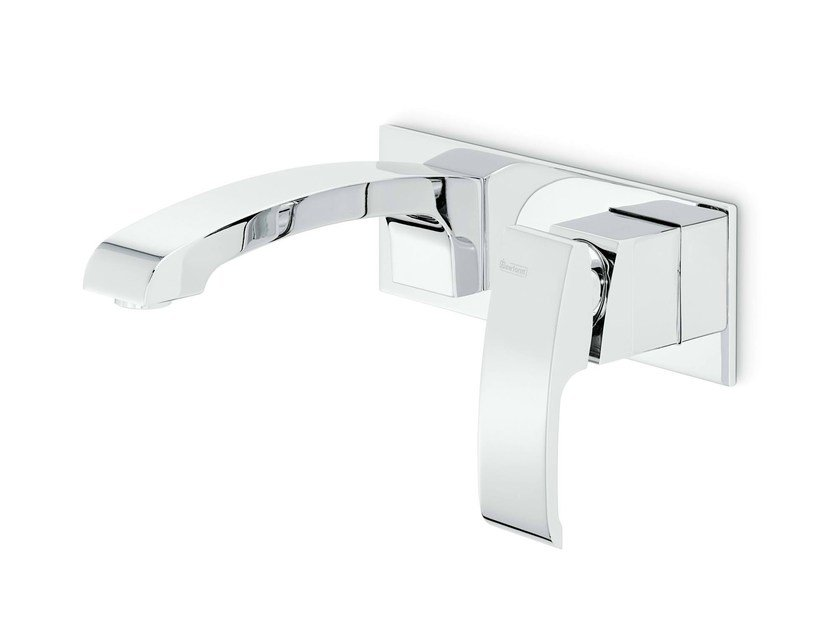 Wall-mounted single handle washbasin mixer with plate X-SENSE | Washbasin mixer with plate - NEWFORM