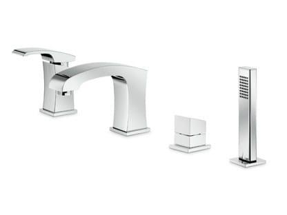 4 hole single handle bathtub mixer with hand shower X-SENSE | 4 hole bathtub set - NEWFORM