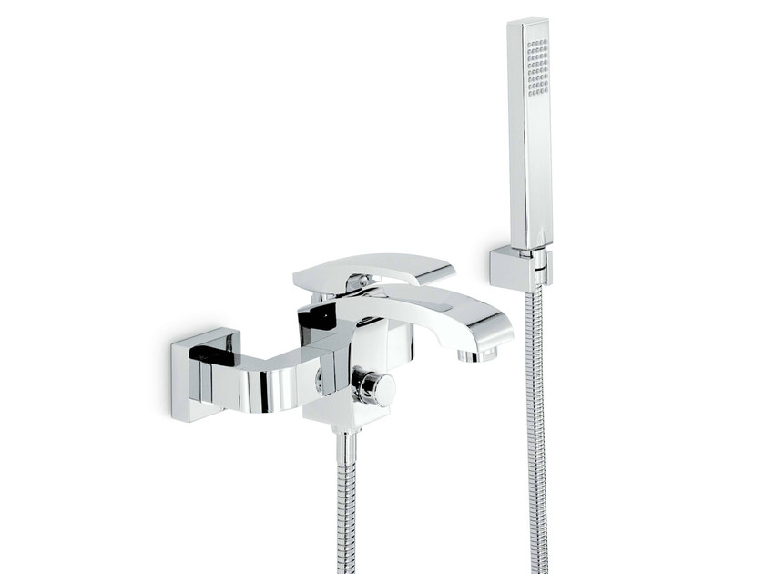 3 hole wall-mounted bathtub mixer with hand shower X-SENSE | Bathtub mixer - NEWFORM