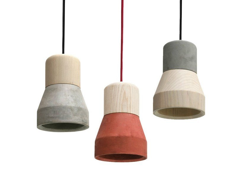 Cement pendant lamp CEMENT WOOD LAMP - Specimen Editions
