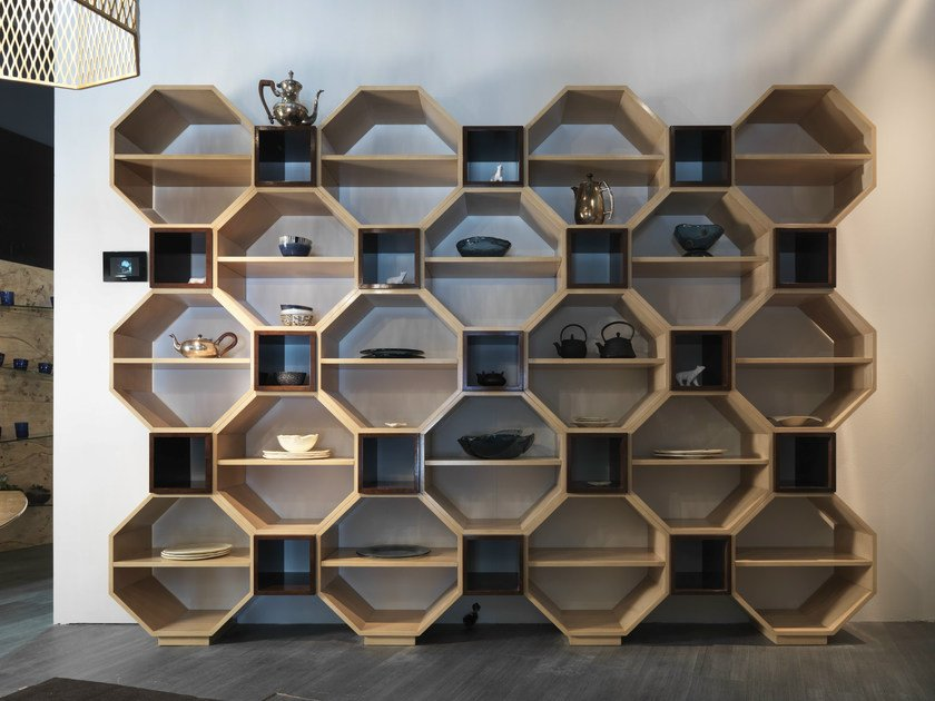 Wall-mounted modular bookcase PANDORA | Bookcase - Bizzotto