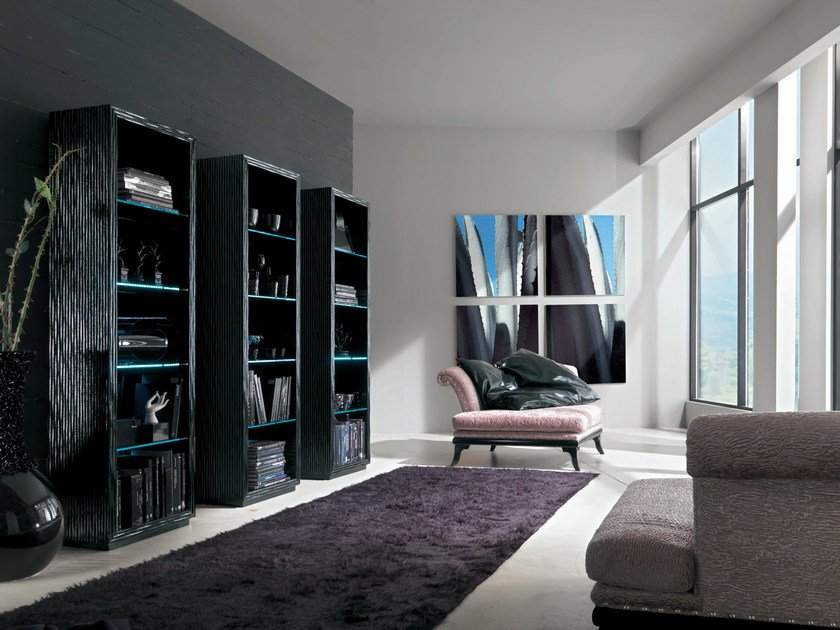 Wooden bookcase with built-in lights MAORI | Bookcase - Bizzotto