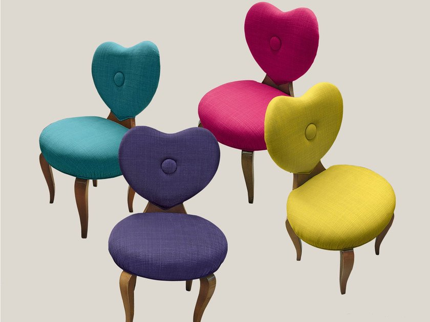 Upholstered fabric chair MY HEART by Bizzotto
