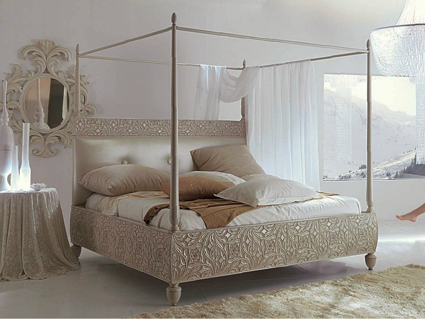 Canopy bed with upholstered headboard REBECCA | Bed by Bizzotto