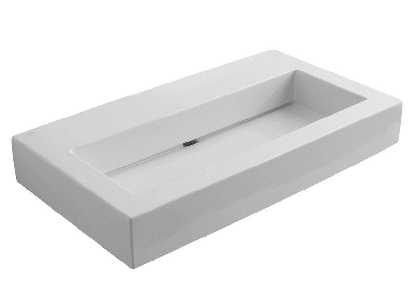 Rectangular wall-mounted washbasin BLOK | Rectangular washbasin by Rubinetterie 3M