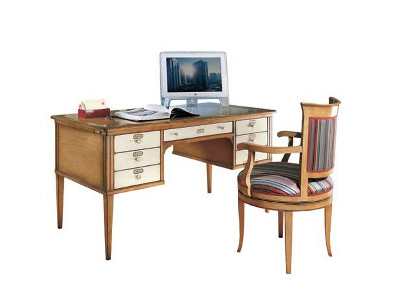 Rectangular wooden office desk with drawers TAORMINA | Office desk - Bizzotto