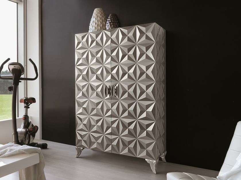Storage bathroom cabinet with doors DIAMOND | Silver leaf bathroom cabinet - Bizzotto