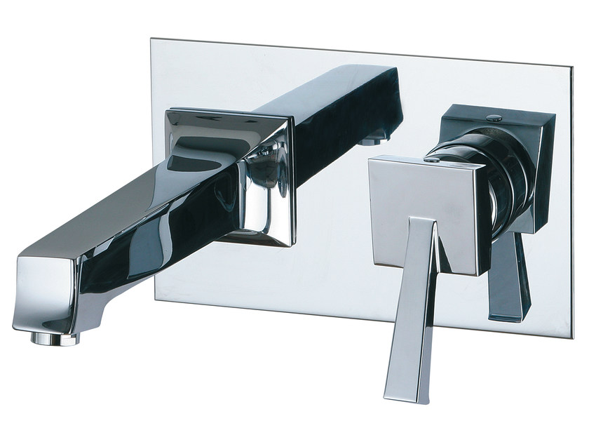 Wall-mounted washbasin mixer with plate BRIDGE_MONO | Washbasin tap with plate - Rubinetterie 3M