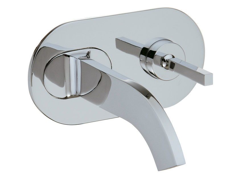 Wall-mounted washbasin mixer with plate CUT | Washbasin mixer with plate - Rubinetterie 3M