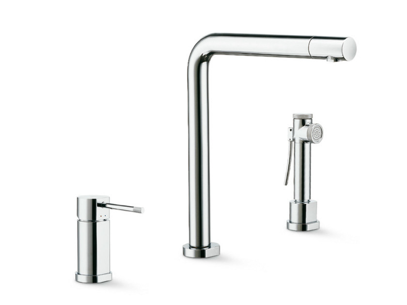 3 hole kitchen mixer tap with swivel spout with spray MOONY | 3 hole kitchen mixer tap - NEWFORM