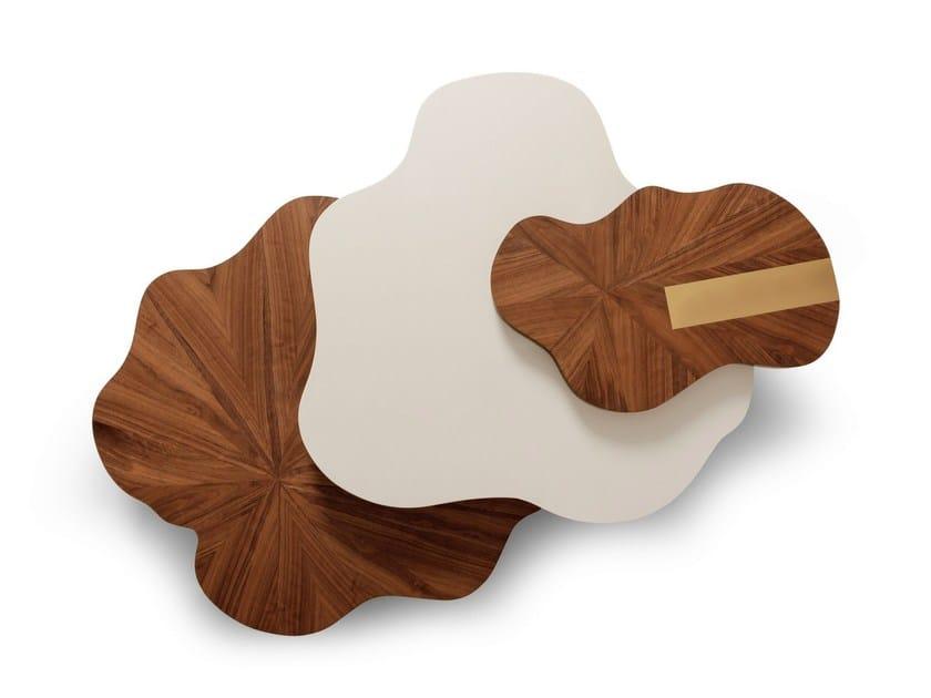 Lacquered wood veneer coffee table for living room NENUPHAR - Ginger & Jagger