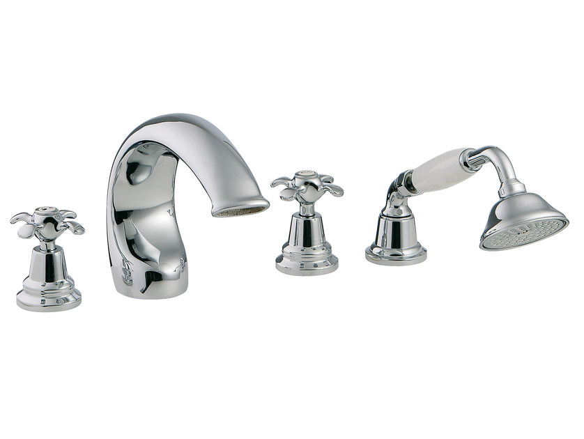 4 hole bathtub set with hand shower NUOVA RETRÒ | 4 hole bathtub set - Rubinetterie 3M